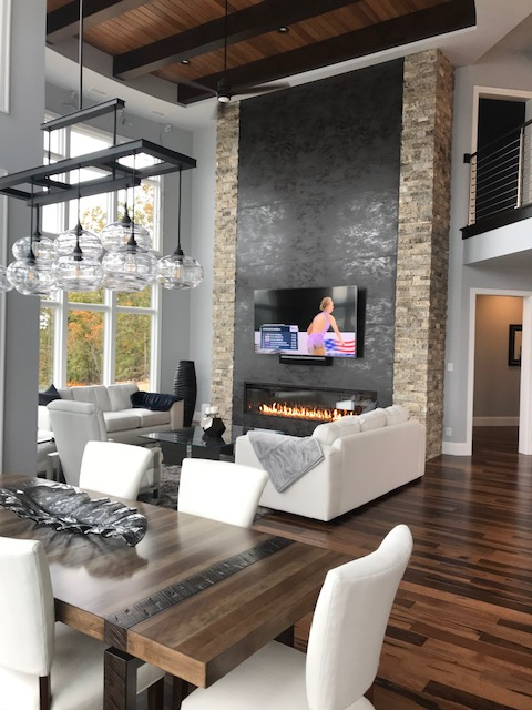 Acucraft 8' Single Sided Signature Series Gas Fireplace with Glass and Black Glass Media (2)