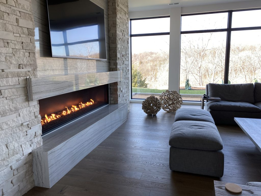 linear fireplace with open viewing area