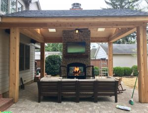 Acucraft Outdoor Hearthroom 44 Indoor Outdoor Wood Burning Fireplace