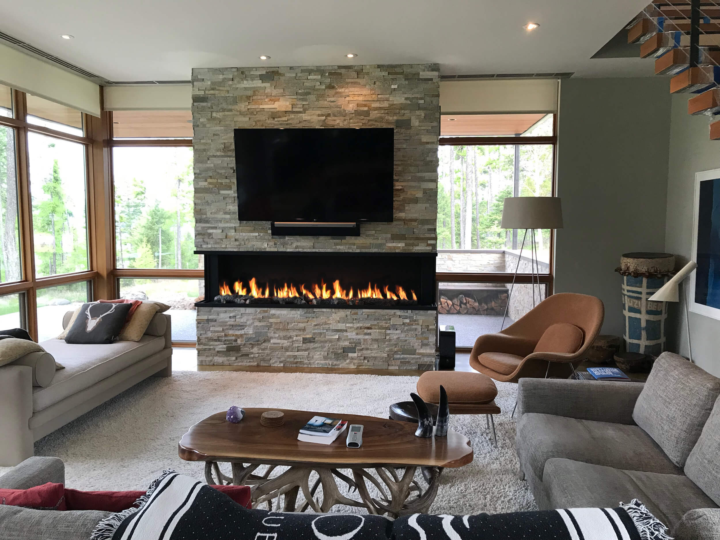 Acucraft Custom Gas Open Panoramic Fireplace with Log Set2