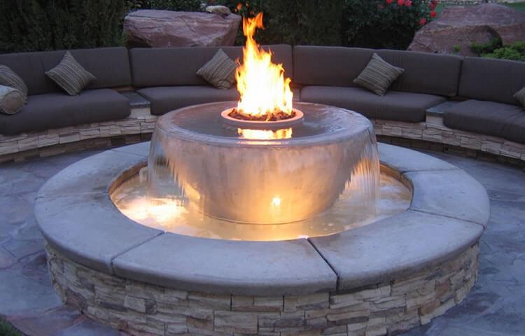 Acucraft Custom Outdoor Burner on Fountain
