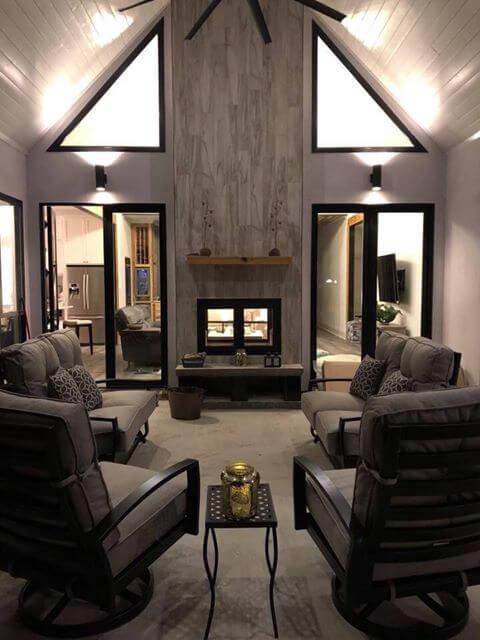 Acucraft Hearthroom 36 Indoor Outdoor Rectangular with Black Finish and Basket Handles (Exterior)