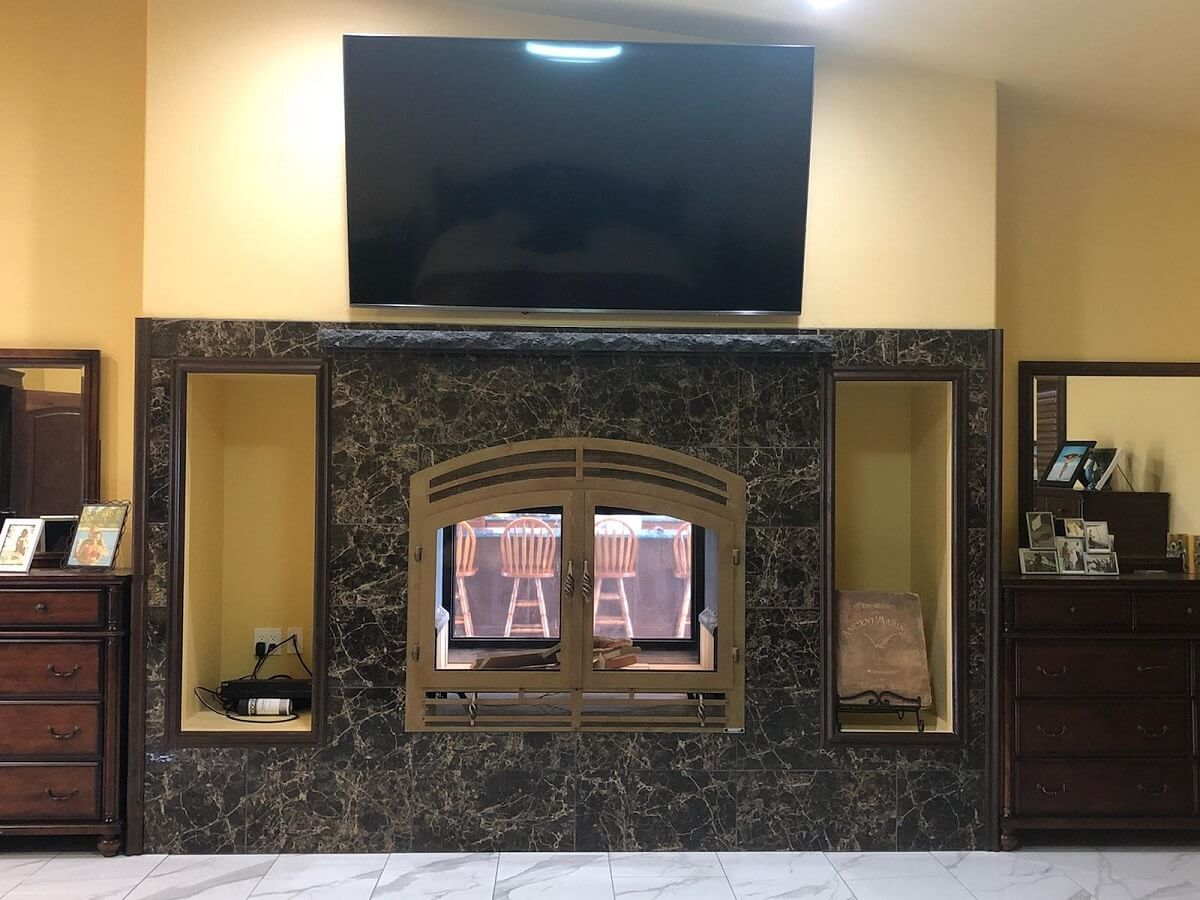 Acucraft Hearthroom 44 See Through Fireplace with Patina Copper Finish and Basket Handles