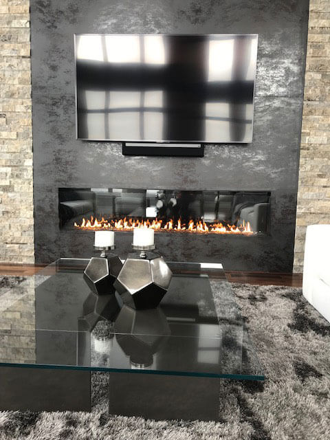 Acucraft Signature 8' Single Sided Linear Gas Fireplace with Black Reflective Glass Media