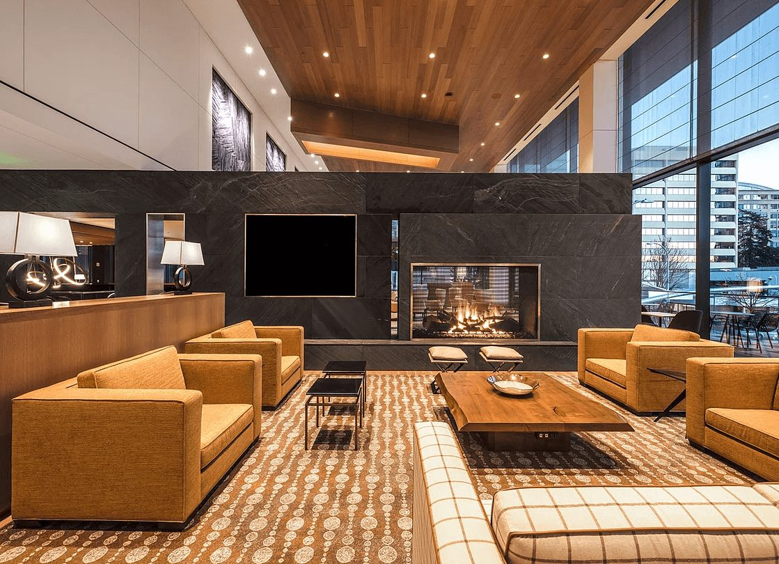 stunning modern gas fireplace in a lobby space