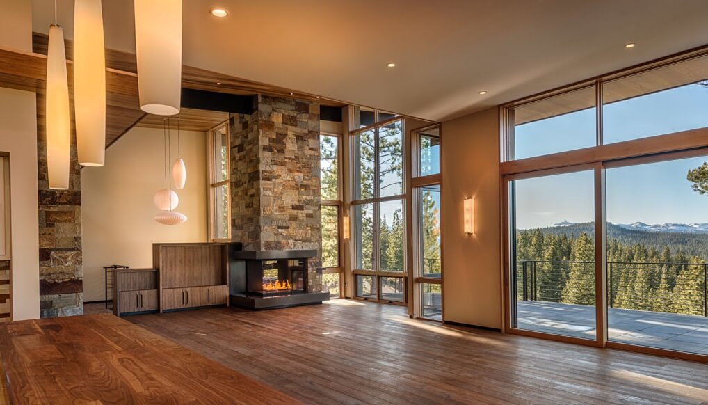 corner fireplace in a contemporary family room