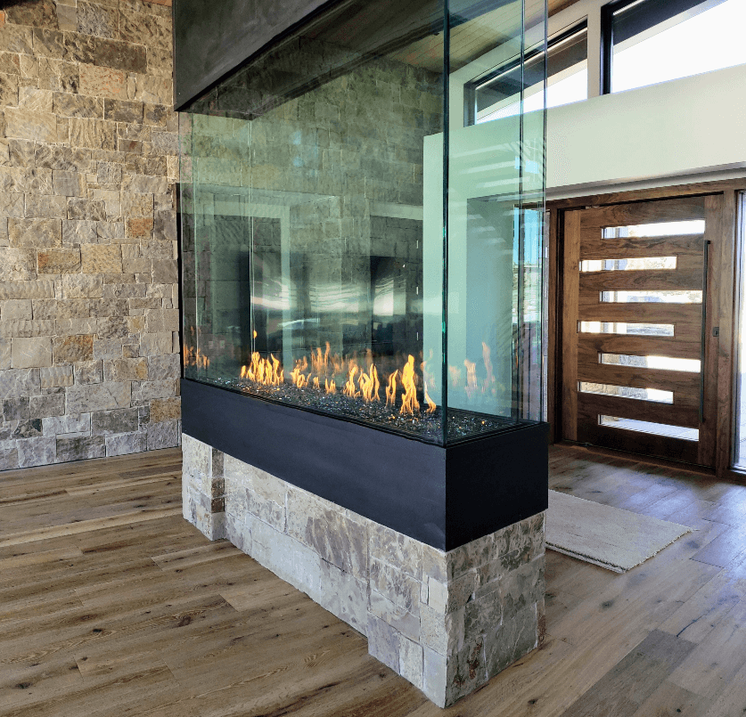 Image of a four sided gas fireplace