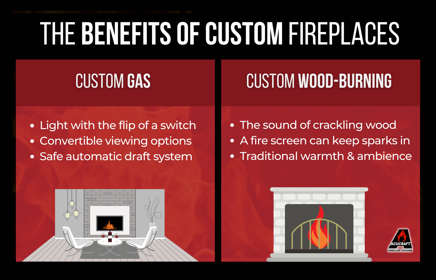 infographic representing benefits of a custom fireplace