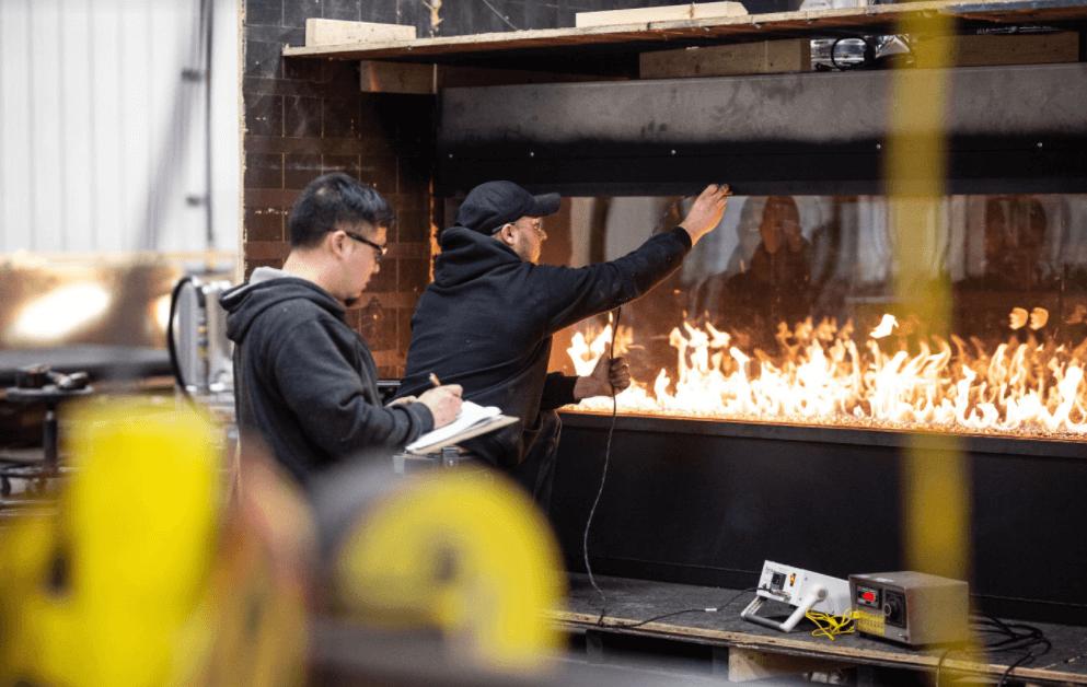Men building a custom fireplace