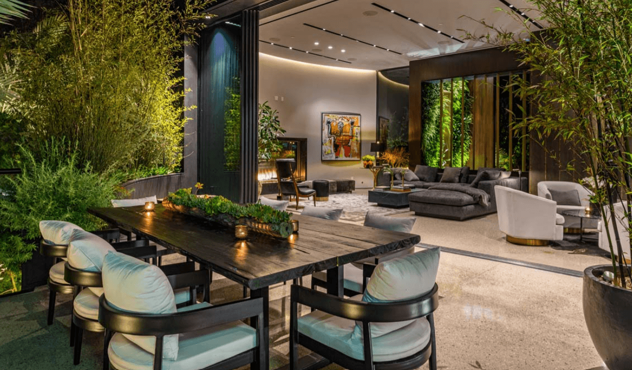 modern indoor dining area with greenery