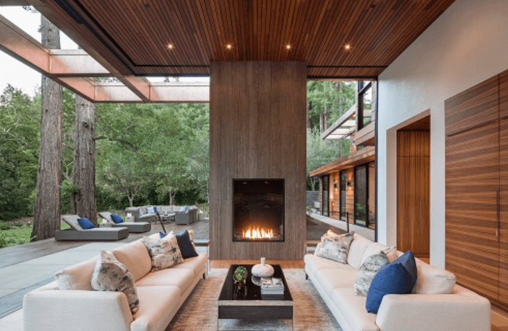 Front facing gas fireplace in a large open space
