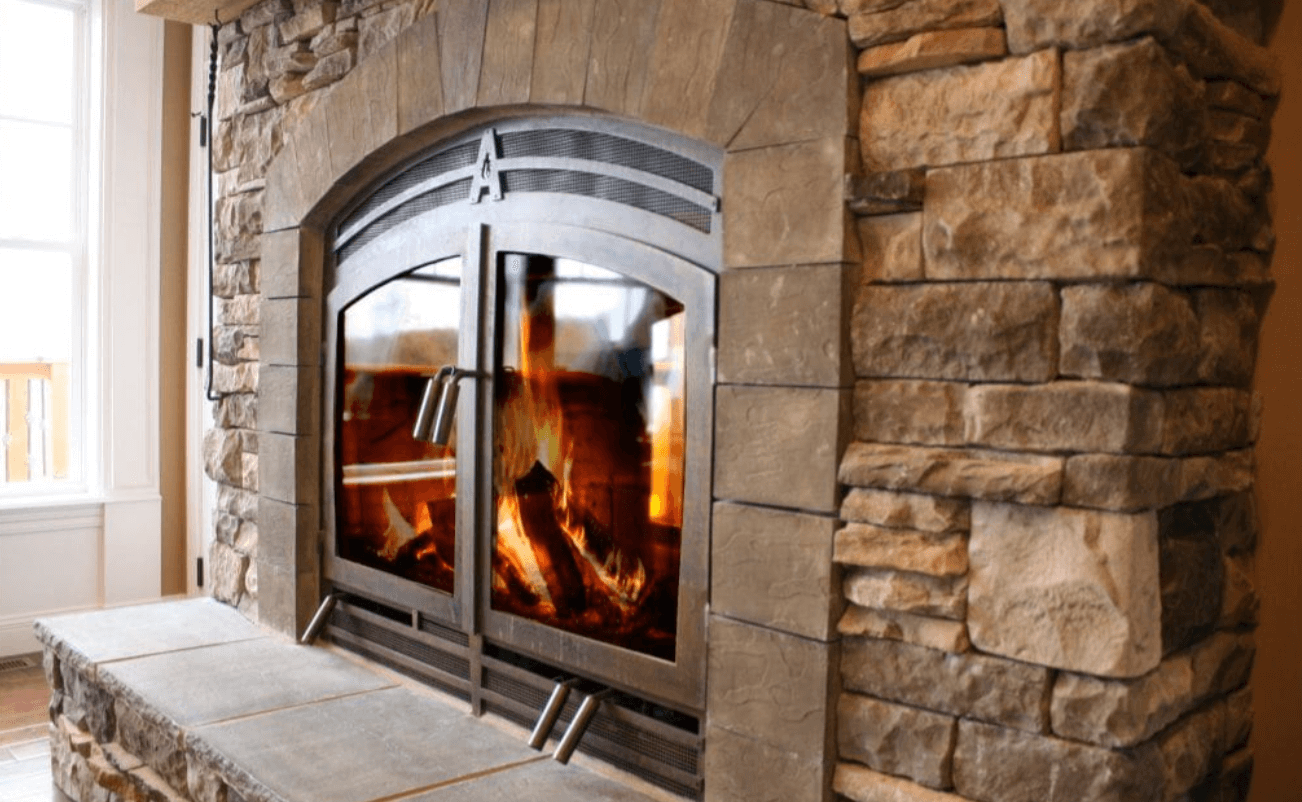single-sided wood fireplace up close