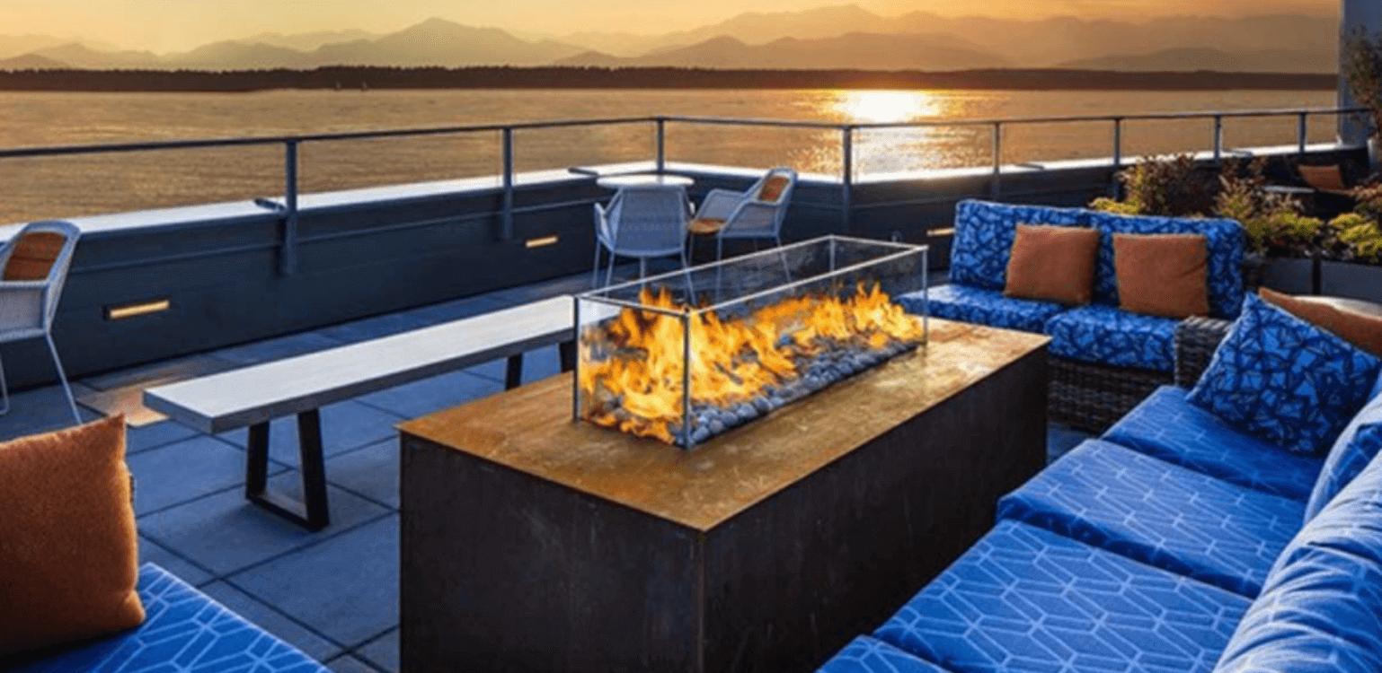 fire table overlooking the ocean
