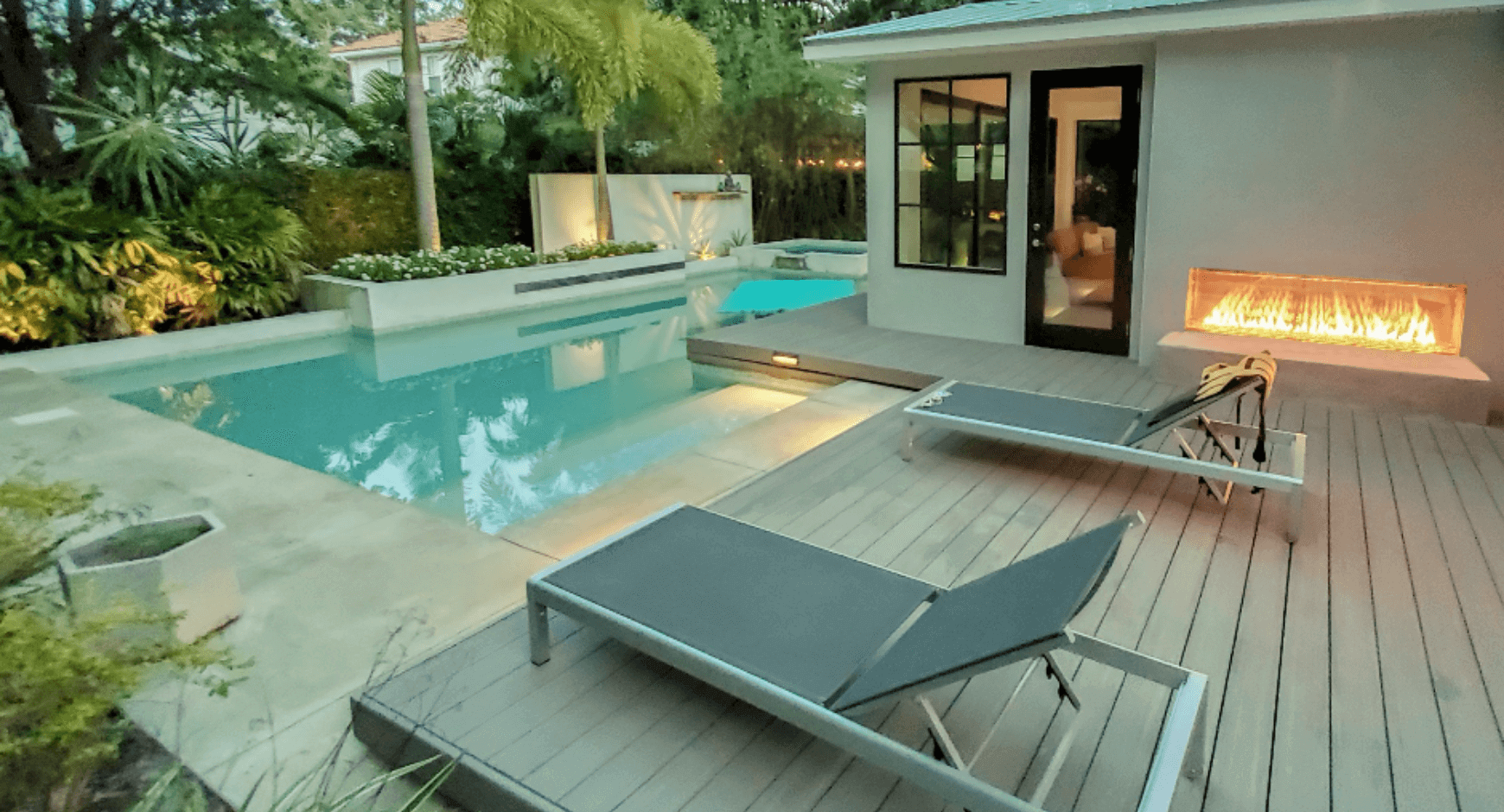 poolside see through fireplace