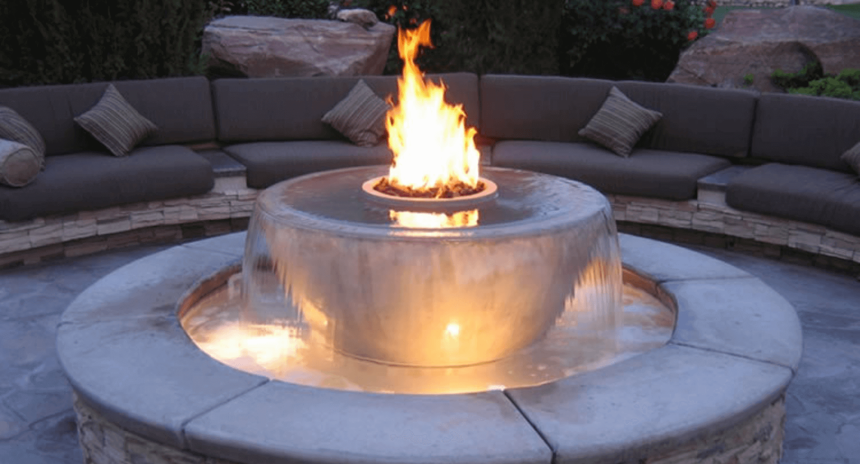 circular gas fire and water feature