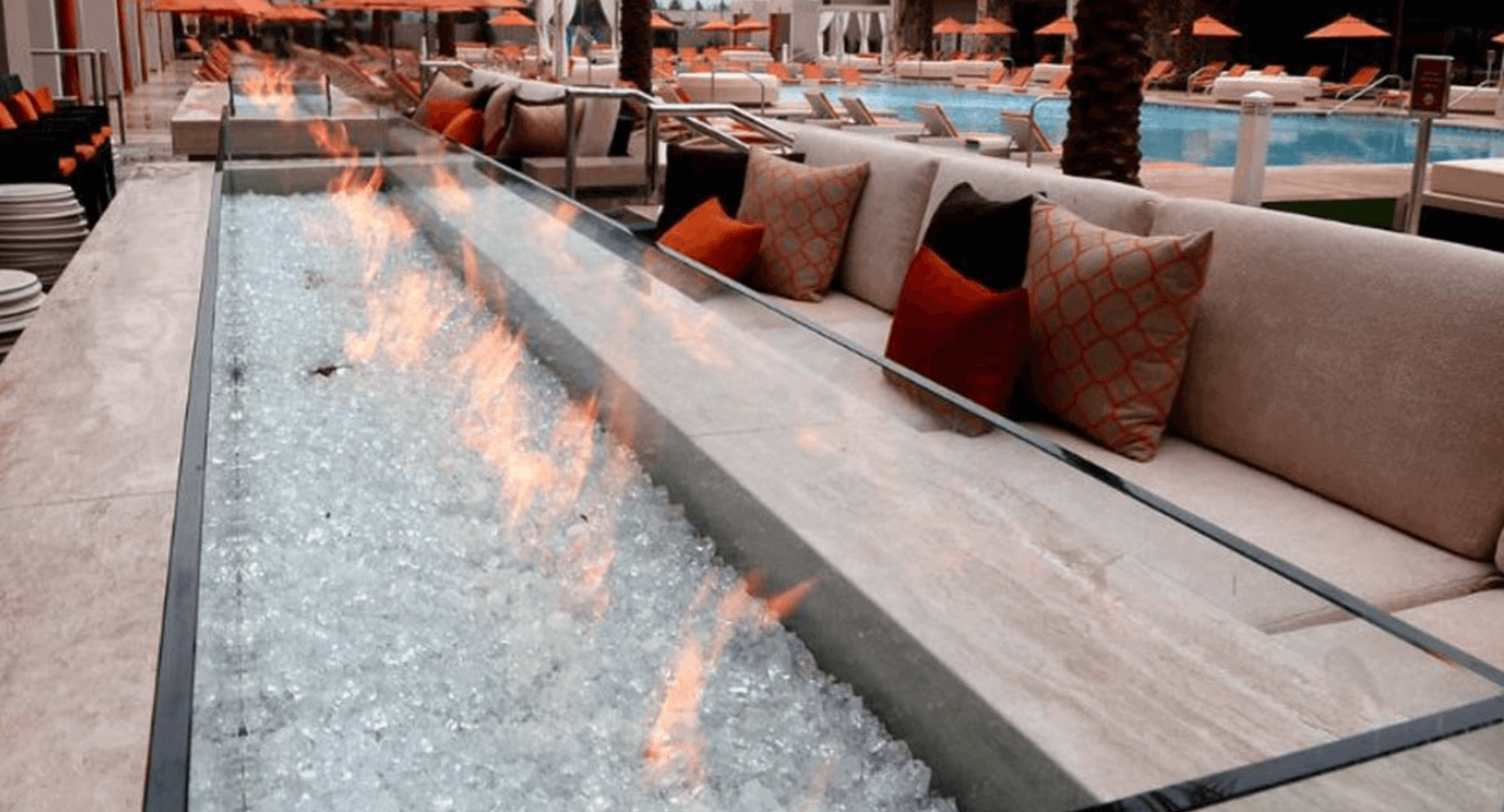 fire table with crushed glass media