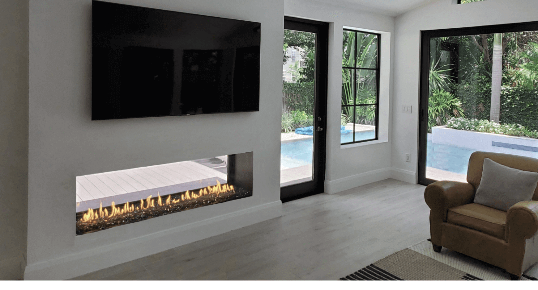 See through fire pit from indoors