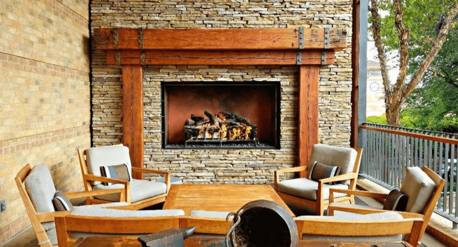 Image of a beautiful stone fireplace
