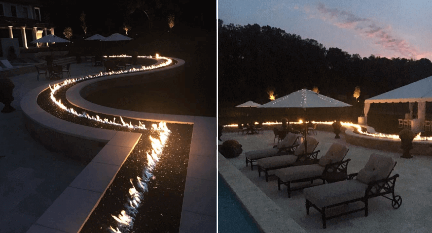 wrap-around poolside fire feature