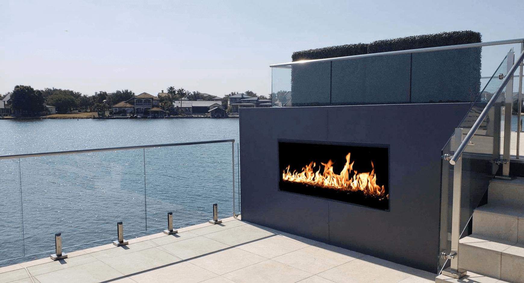 Sleek and Elegant Outdoor Corner Fireplace Idea