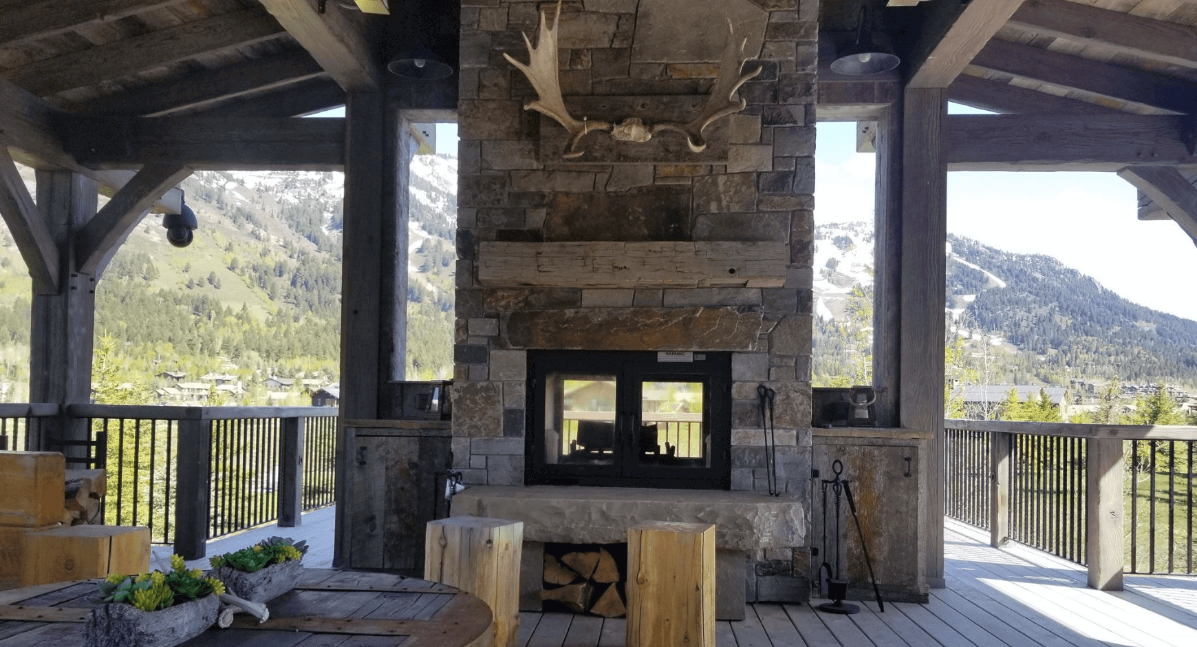 A Deck Fireplace Design for the Outdoorsy Mountain Dweller