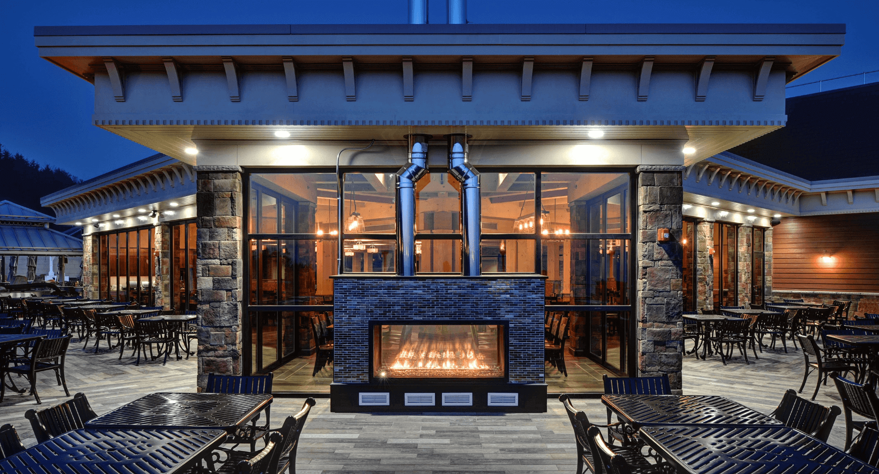 Indoor Outdoor Fireplaces Ideas for a Commercial Setting