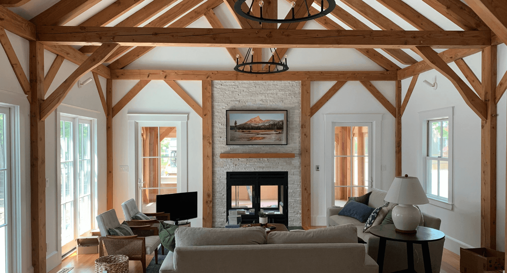 Traditional 4 Season Room with a Fireplace