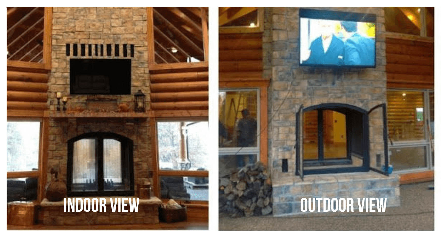 Woodsy Covered Patio with an Indoor Outdoor Fireplace and TV