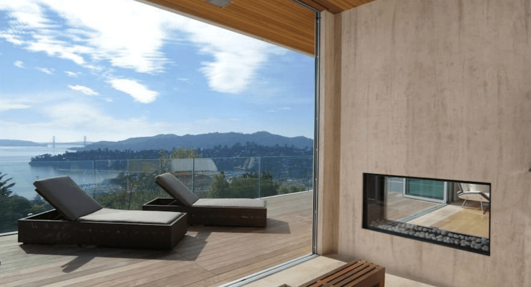 Top Floor Patio With a Gas Fireplace and a Breathtaking View