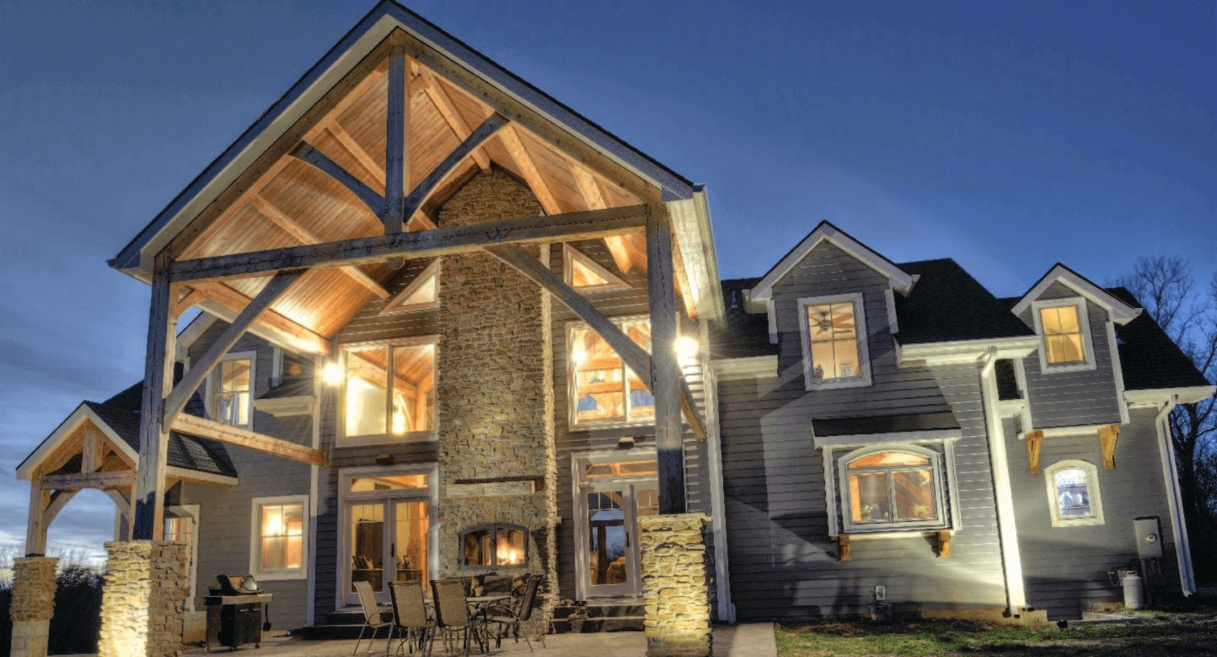 Beautiful home with a patio fireplace