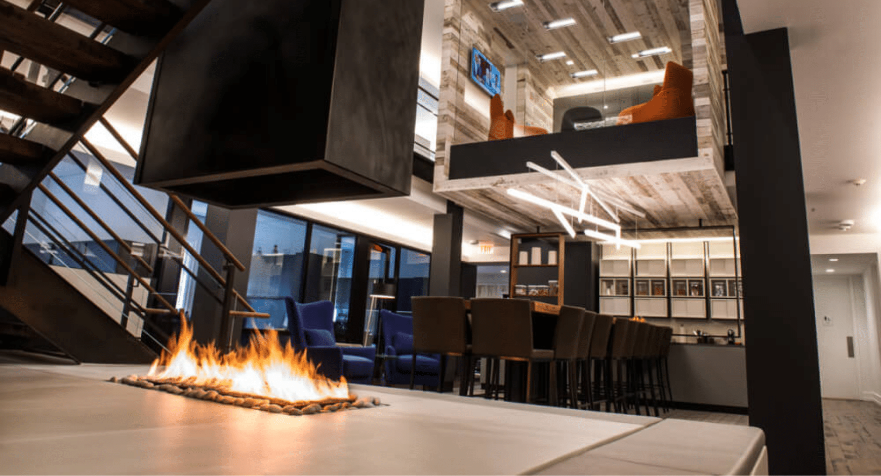Image of an modern open gas fireplace with no glass