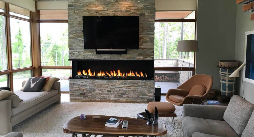 Completely Open Linear Gas Fireplace