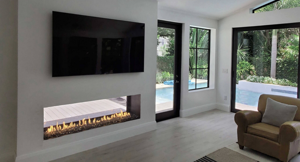 Completely Open Indoor Outdoor Gas Fireplace