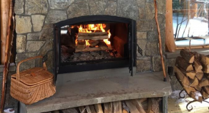 image of an open wood fireplace
