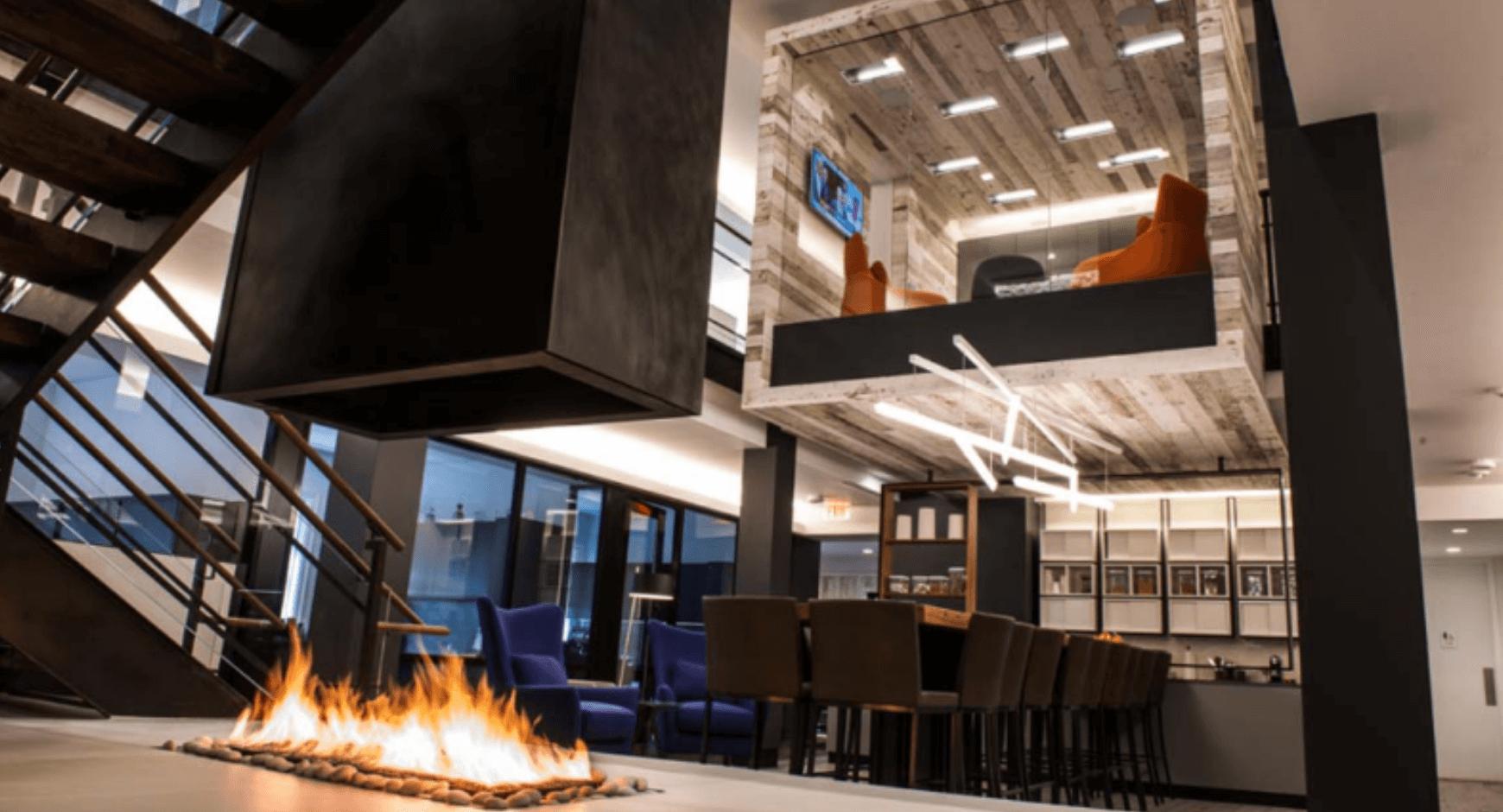 Reconfigured hotel lobby design