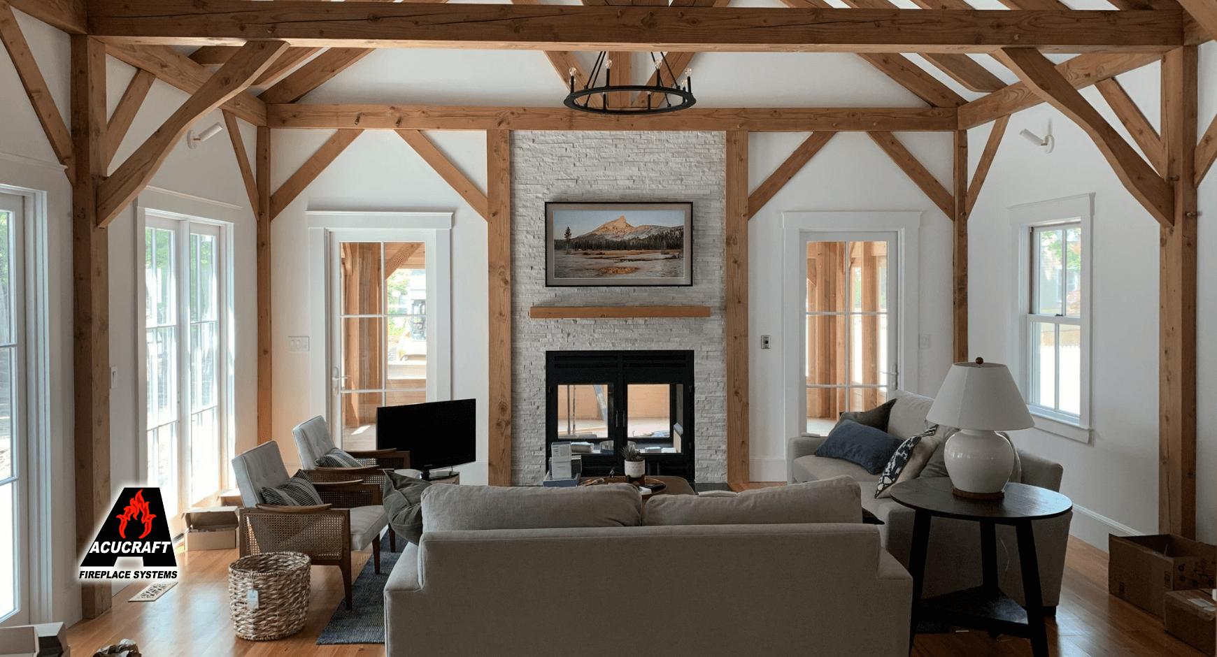 A home fireplace made of thin stone veneer