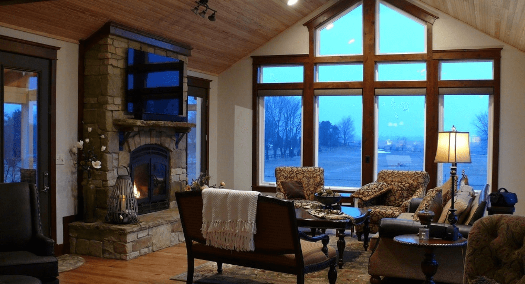 Cozy mortared stone veneer fireplace