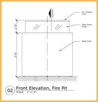 Front Elevation of Custom Fire Pit Design