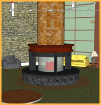 Rendering of Custom Multi-Sided Fireplace
