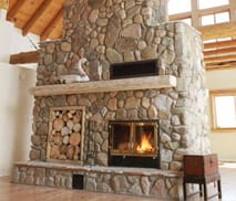 Great Room See-Through Wood Fireplace